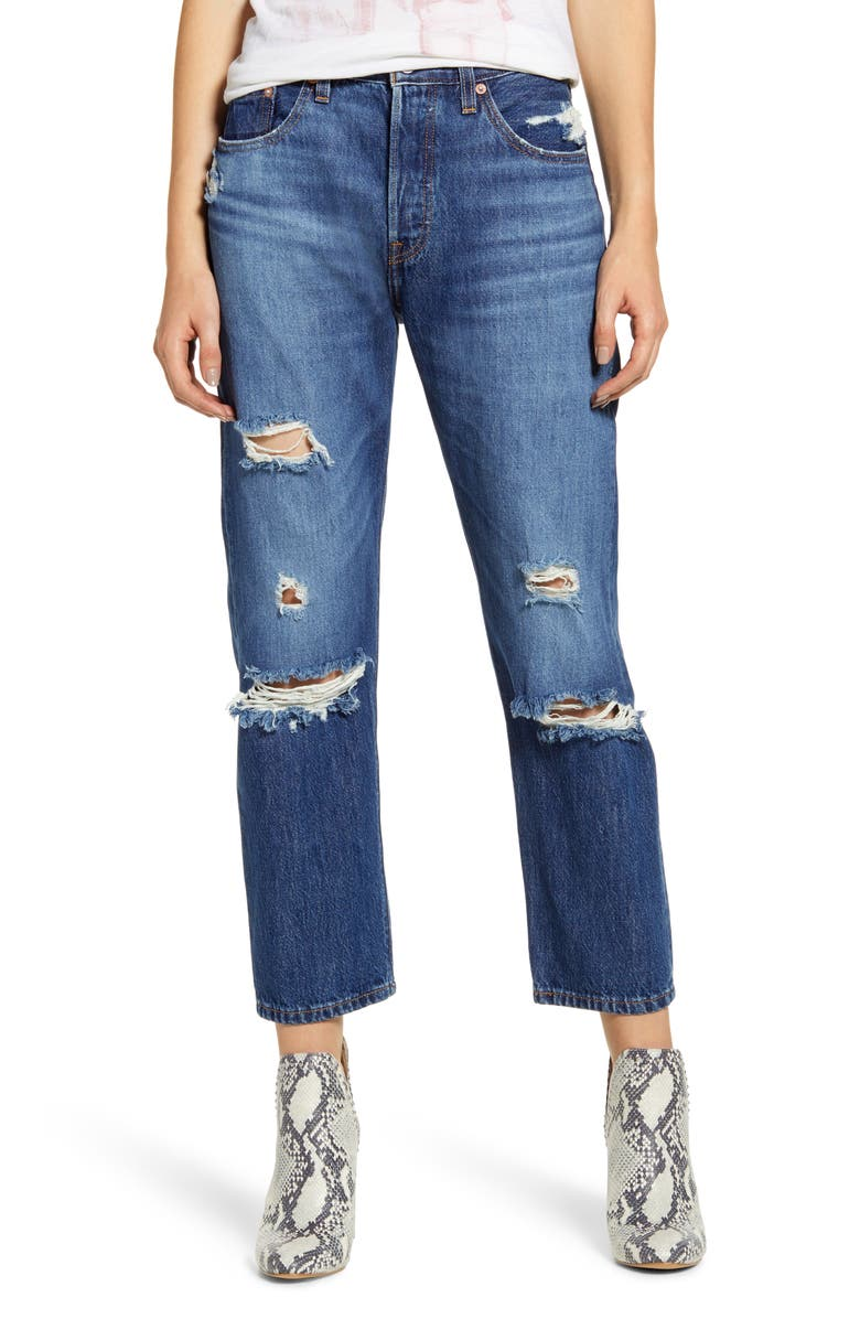 LEVI'S<SUP>®</SUP> 501<sup>®</sup> Ripped Crop Straight Leg Jeans, Main, color, MARKET INDIGO