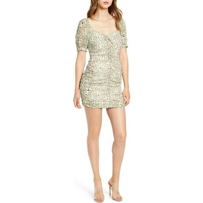 J.o.a. Animal Print Ruched Front Minidress, Ivory