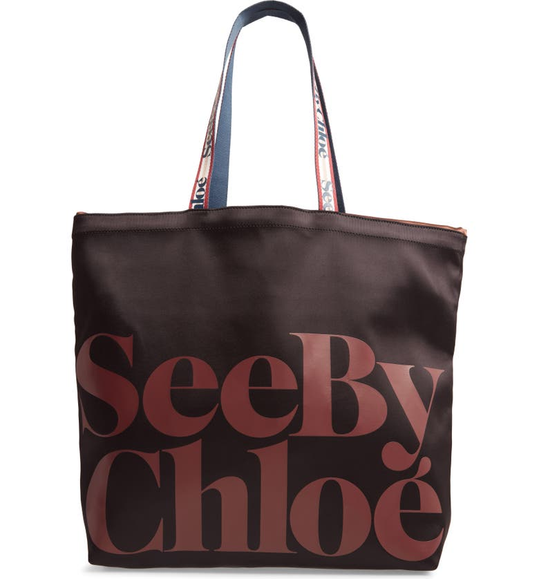 SEE BY CHLOÉ Live Satin Tote, Main, color, 001