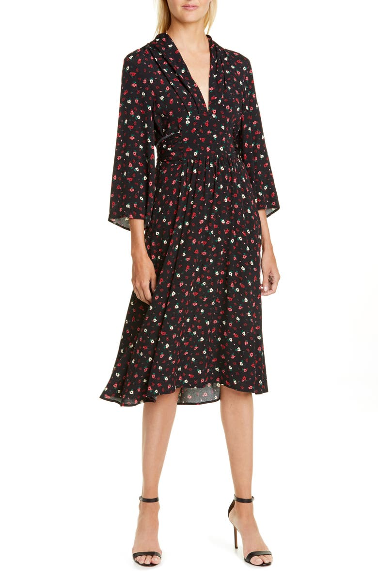 BA&SH Lilia Floral Dress, Main, color, NOIR