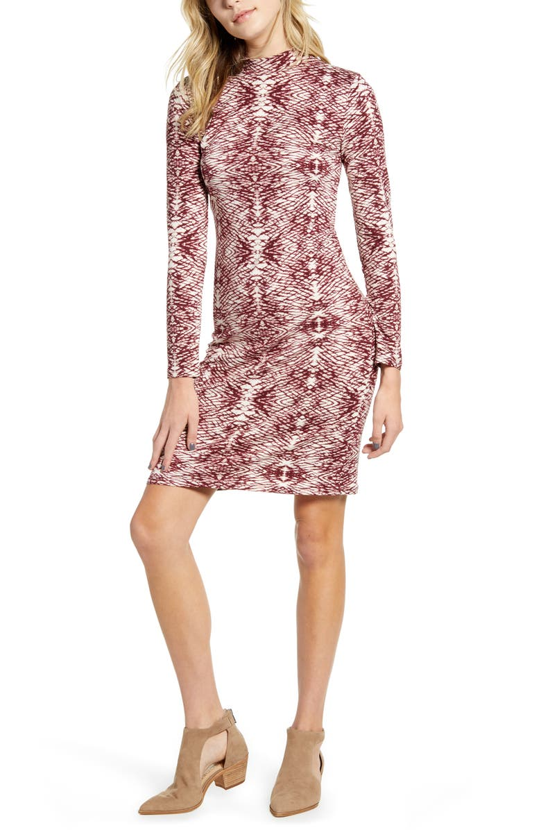 ONE CLOTHING Long Sleeve Body-Con Dress, Main, color, WINE/ IVORY