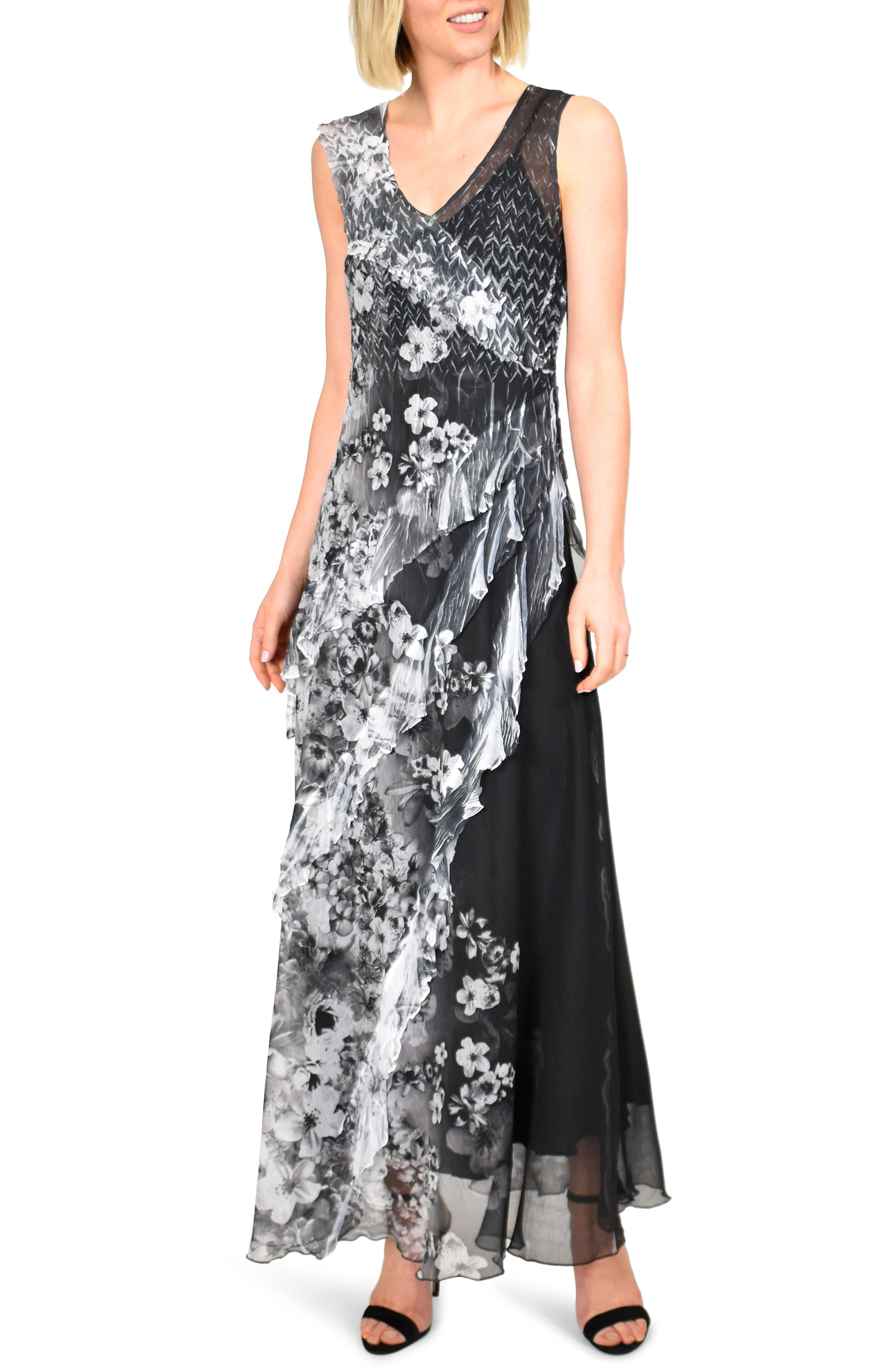 Komarov Side Ruffle Chiffon Maxi Dress, Grey