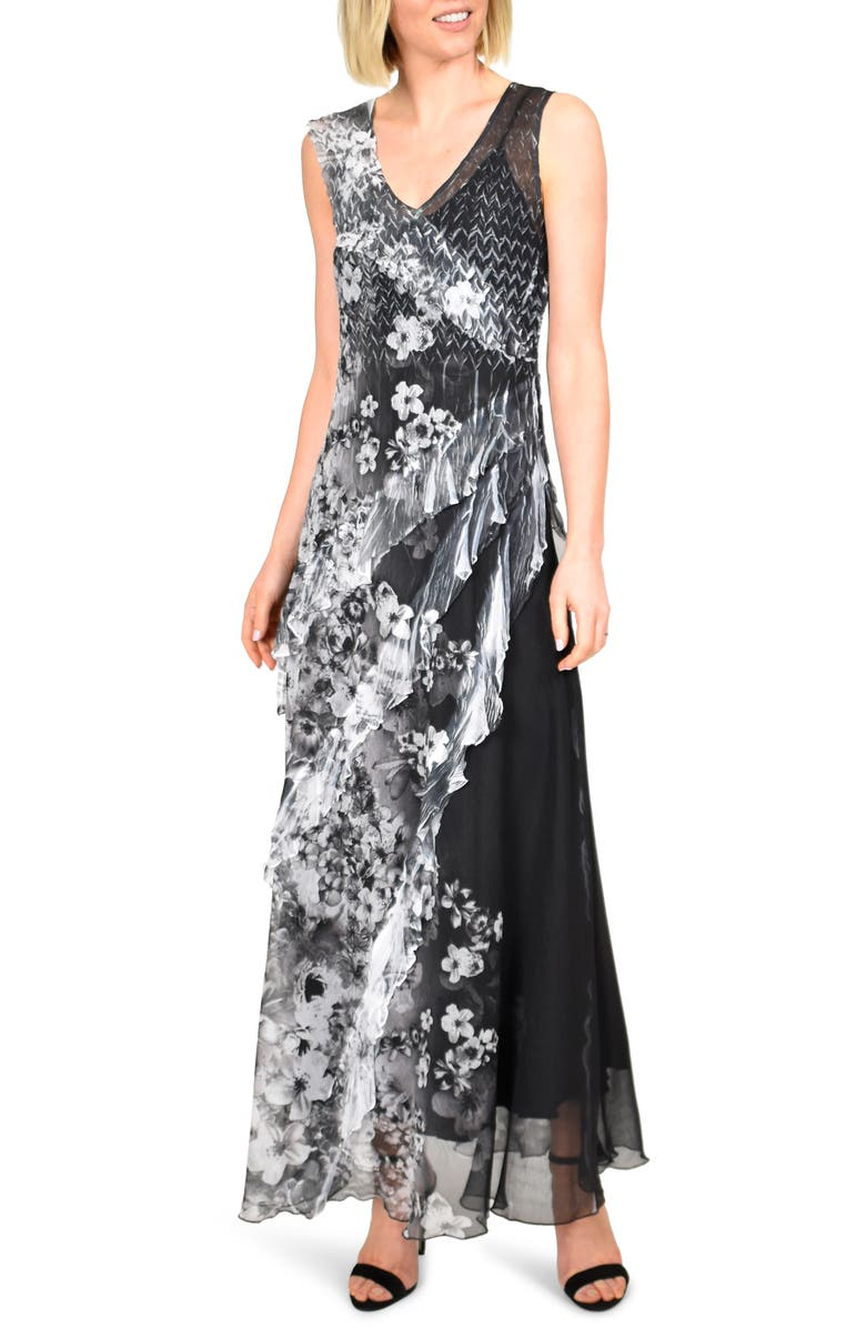 KOMAROV Side Ruffle Chiffon Maxi Dress, Main, color, MOONLIGHT BLOOM