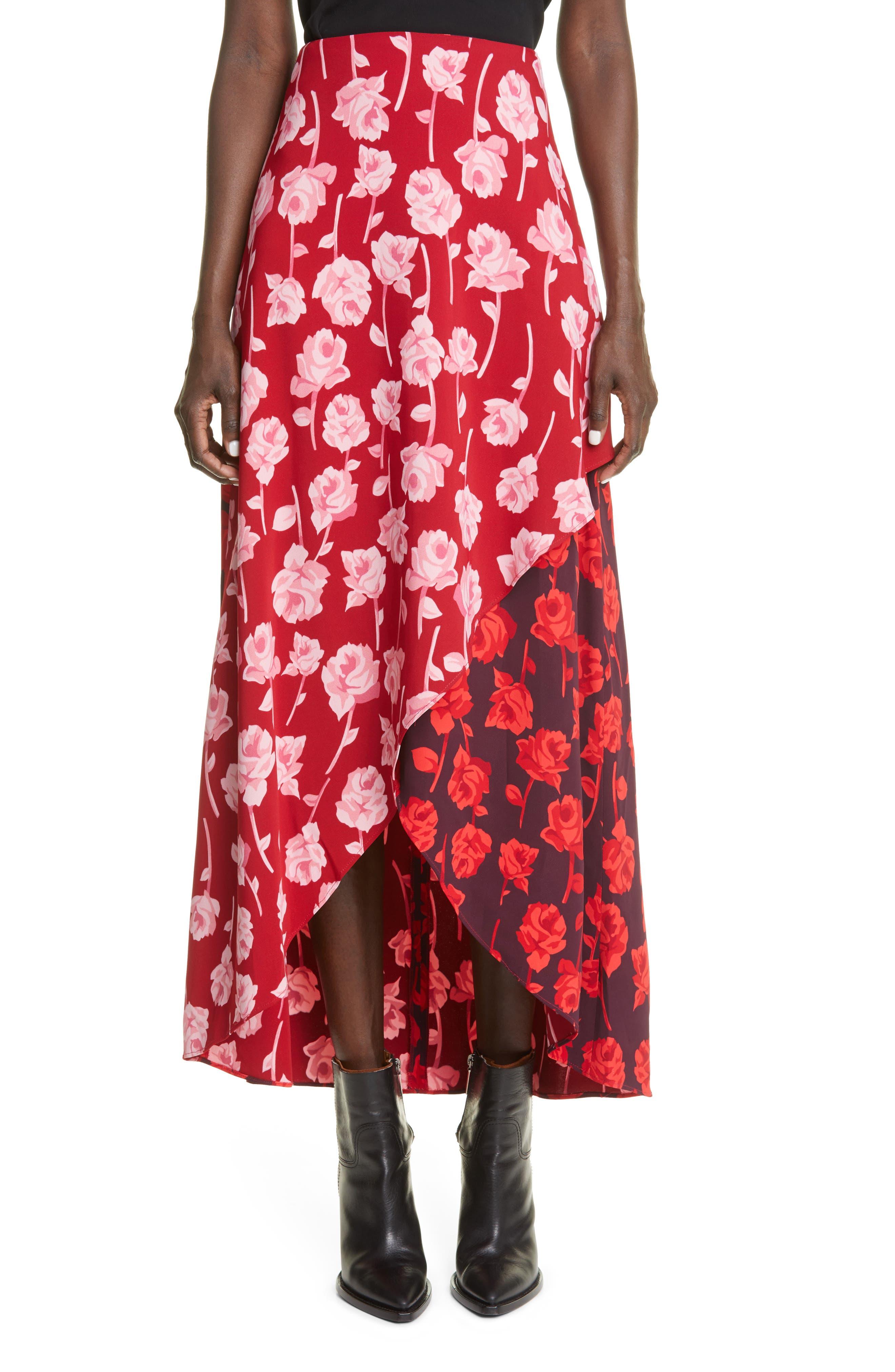 Floral Print High Low Tulip Skirt