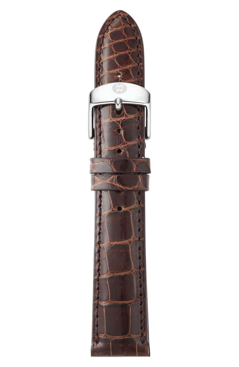MICHELE 18mm Alligator Watch Strap, Main, color, CHOCOLATE