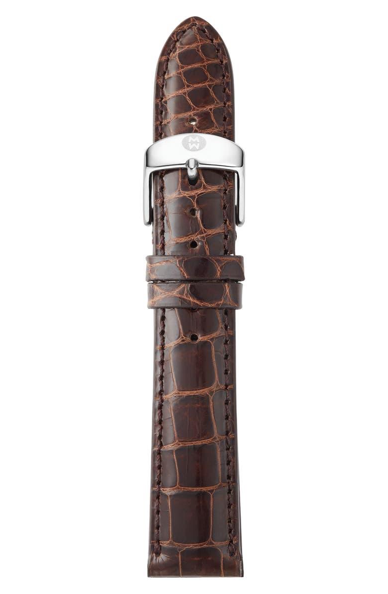 MICHELE 18mm Alligator Watch Strap, Main, color, 200