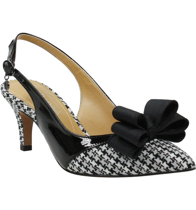 J. RENEÉ Gabino Slingback Pump, Main, color, BLACK/BLACK WHITE PRINT FABRIC