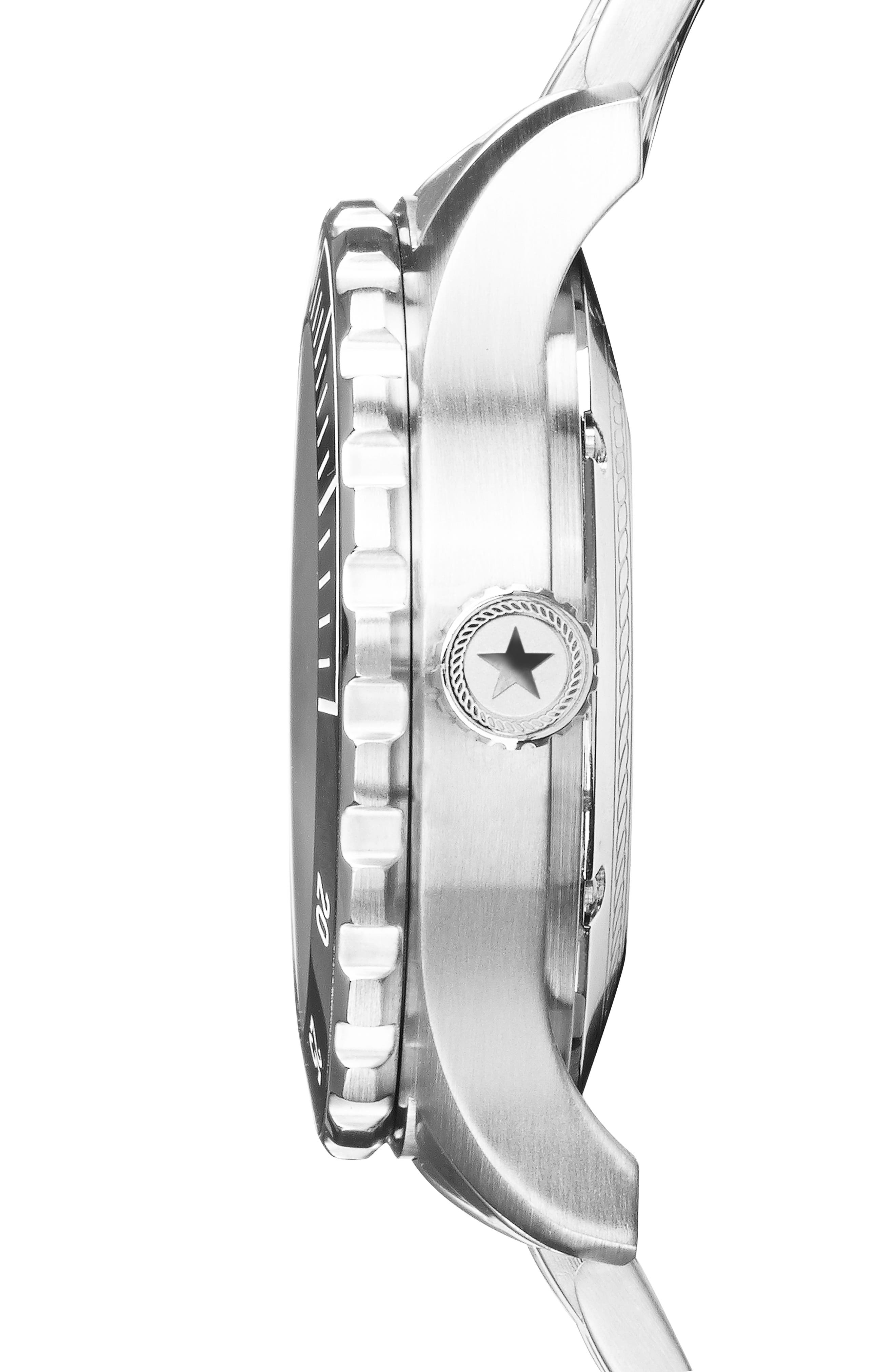 ,                             Diving Bracelet Watch, 42mm,                             Alternate thumbnail 3, color,                             BLACK
