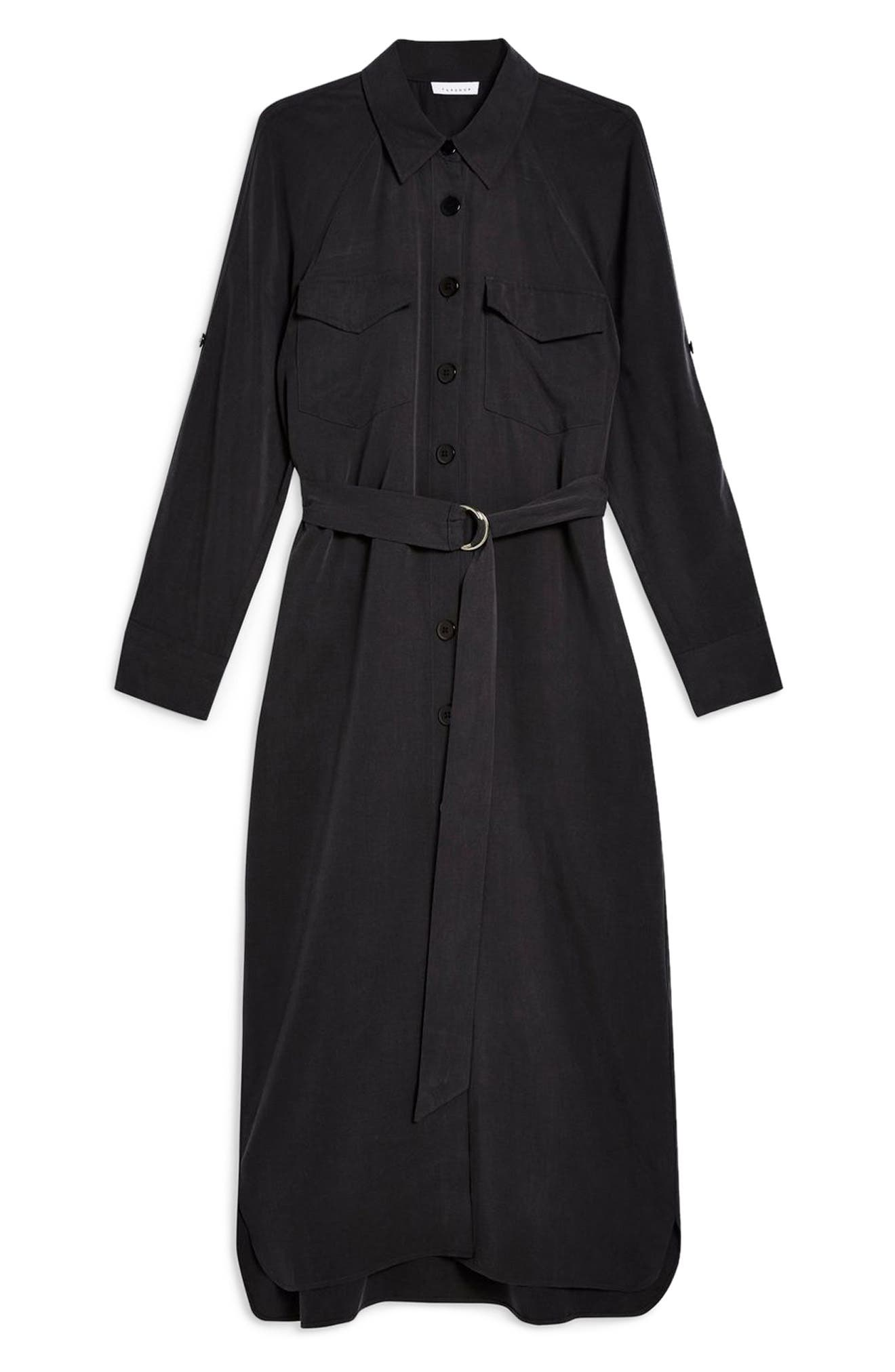 ,                             Utility Midi Shirtdress,                             Alternate thumbnail 5, color,                             WASHED BLACK