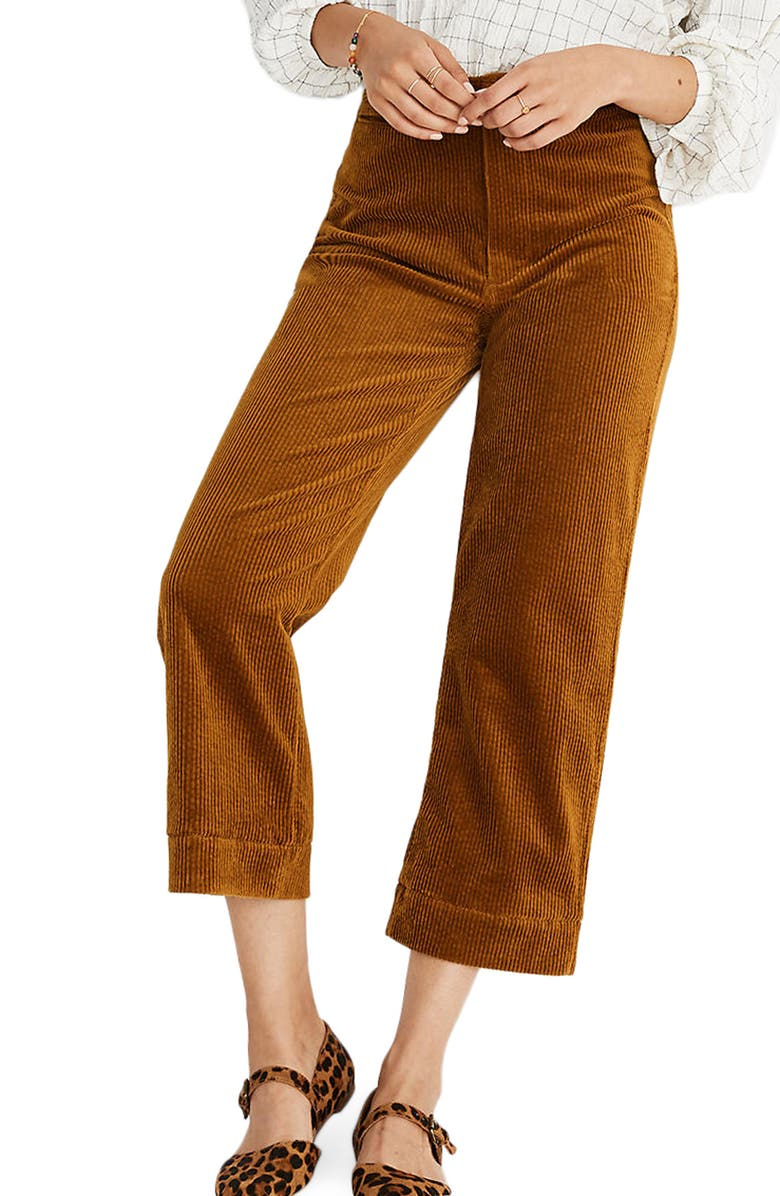 MADEWELL Slim Emmett Wide Leg Crop Pants: Corduroy Edition, Main, color, EGYPTIAN GOLD