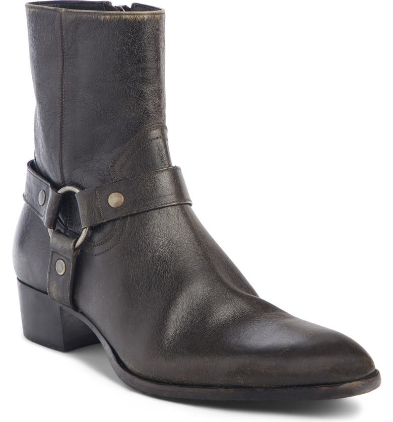 SAINT LAURENT Wyatt Harness Boot, Main, color, COAL