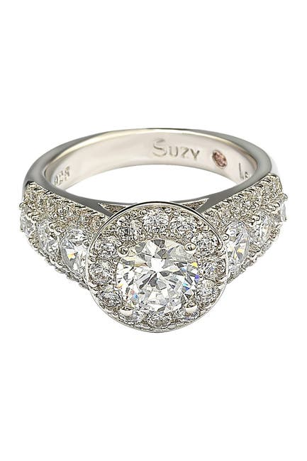 Image of Suzy Levian Sterling Silver White CZ Engagement Ring