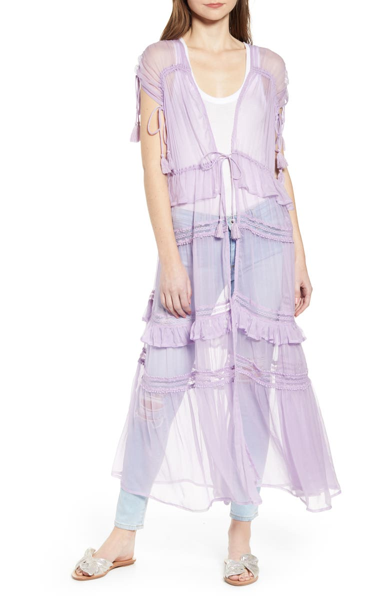 NEW FRIENDS COLONY Tiered Lace Sheer Duster, Main, color, LAVENDER COMBO