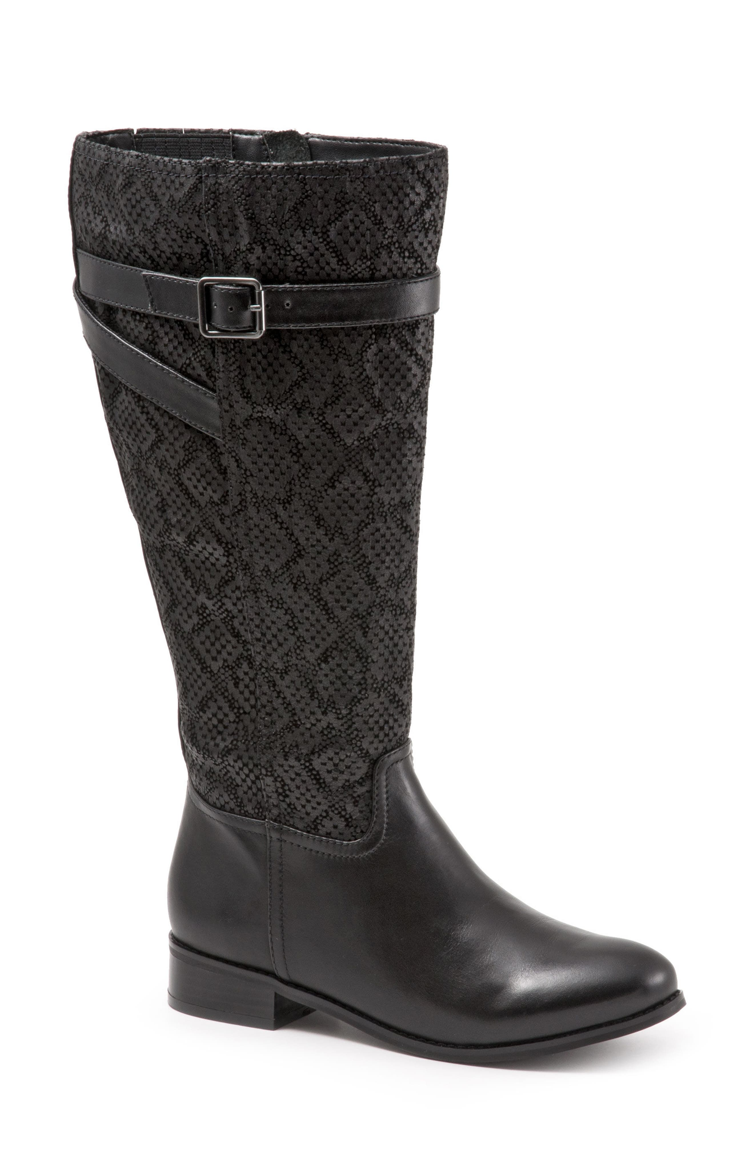 Trotters Lyra Tall Boot, Regular Calf N - Black