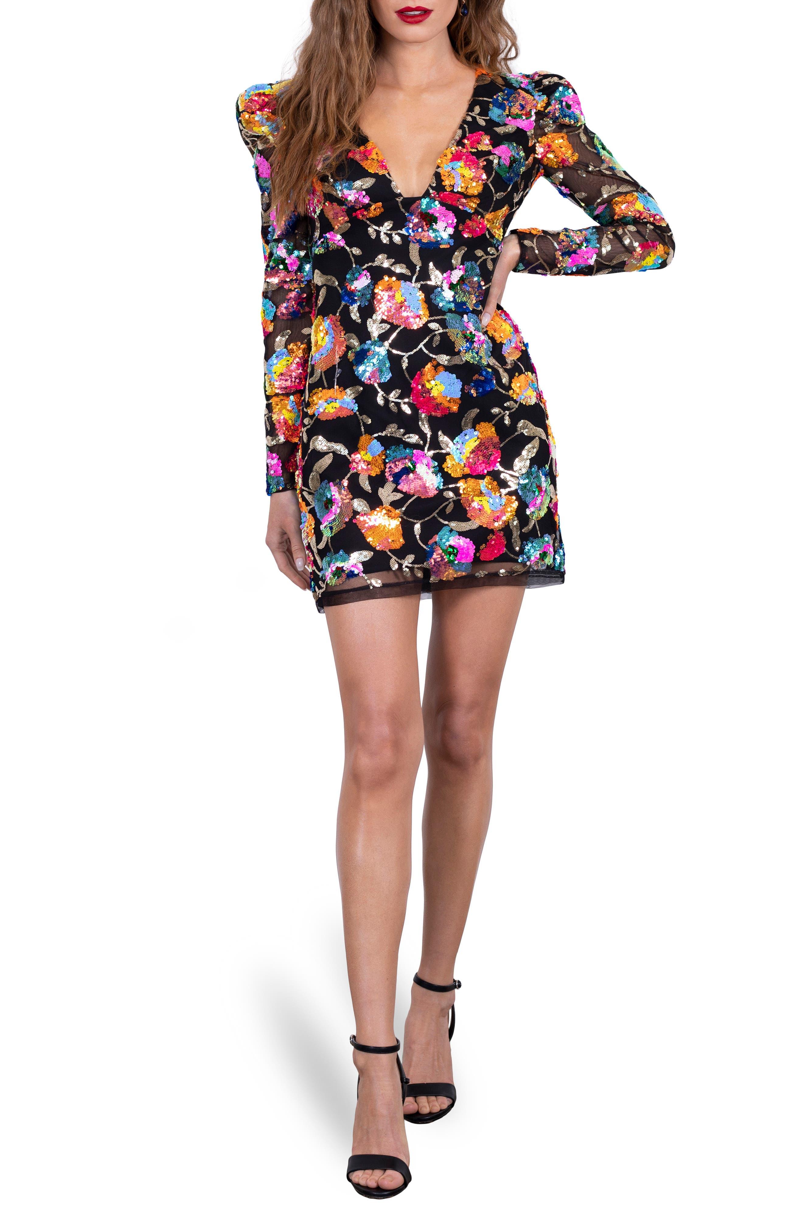 Penelope Floral Sequin Long Sleeve Minidress