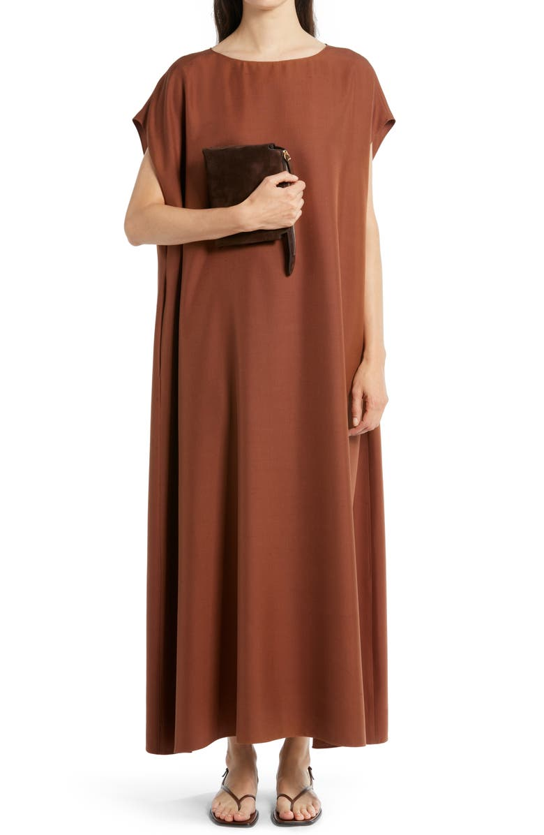 THE ROW Sebastian Silk Shantung Dress, Main, color, TOFFEE