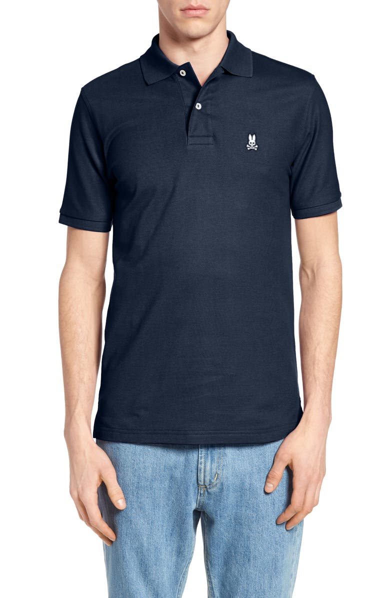 PSYCHO BUNNY The Classic Slim Fit Piqué Polo, Main, color, NAVY