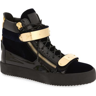 Giuseppe Zanotti Gold Bar High Top Sneaker, Blue