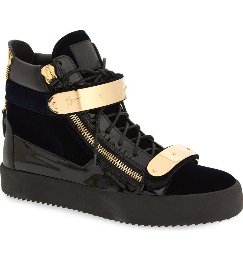 GIUSEPPE ZANOTTI Gold Bar High Top Sneaker, Main, color, NAVY