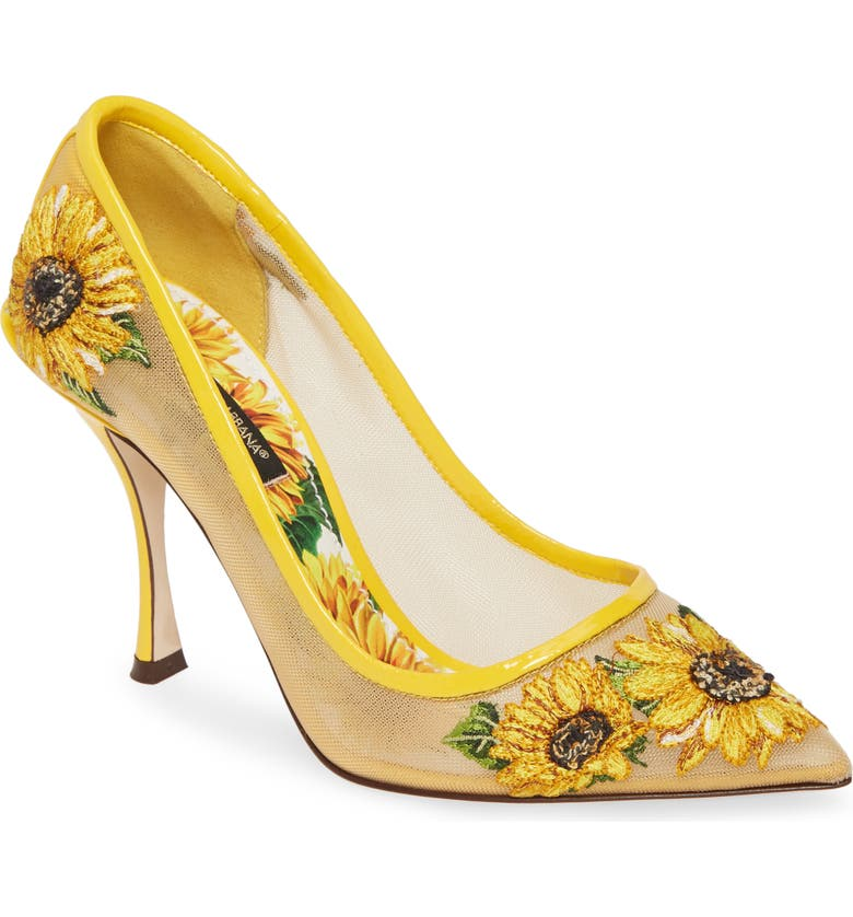 DOLCE&GABBANA Lori Embroidered Mesh Pump, Main, color, YELLOW