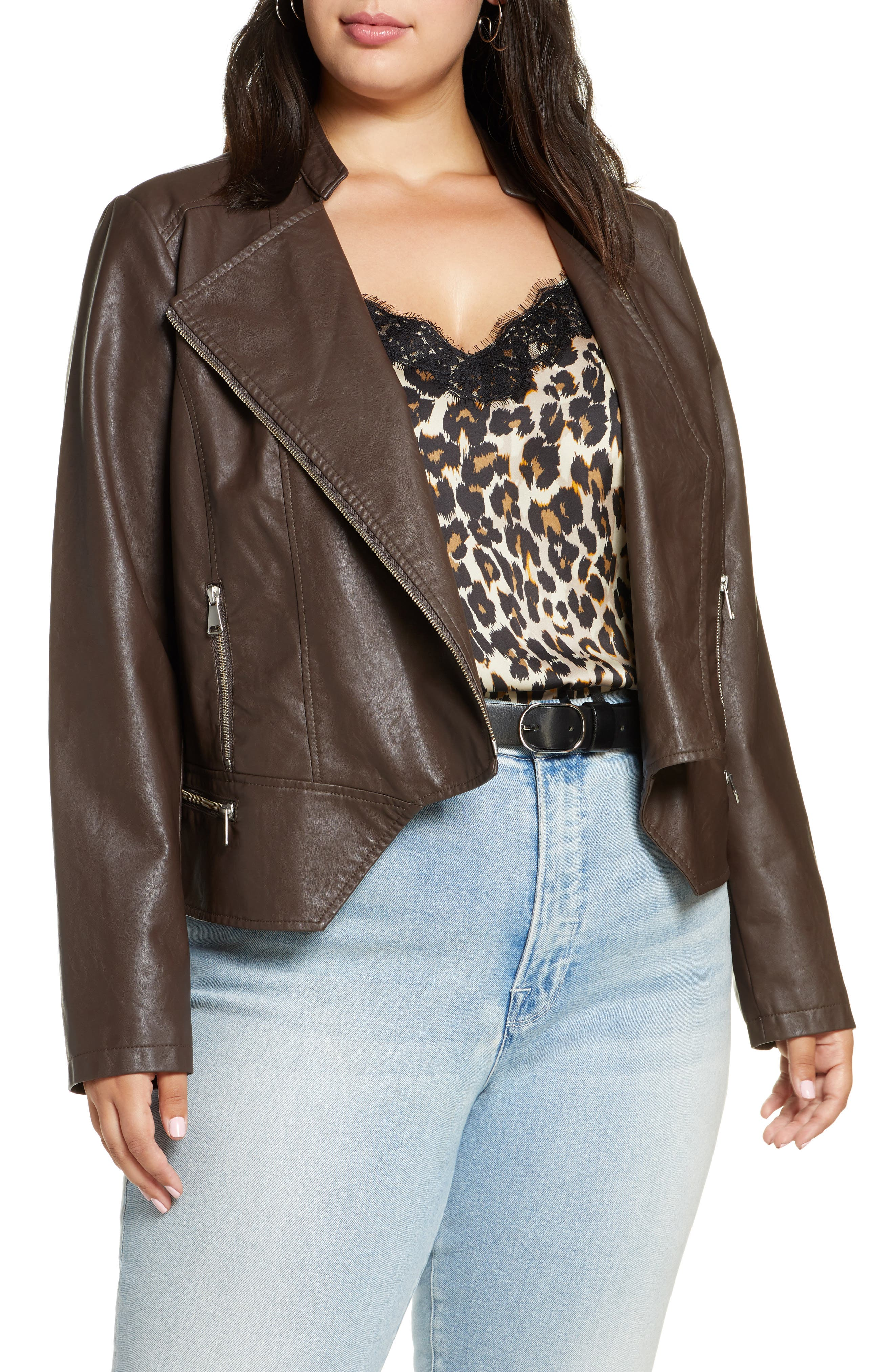 Halogen® Peplum Faux Leather Moto Jacket (Plus Size)
