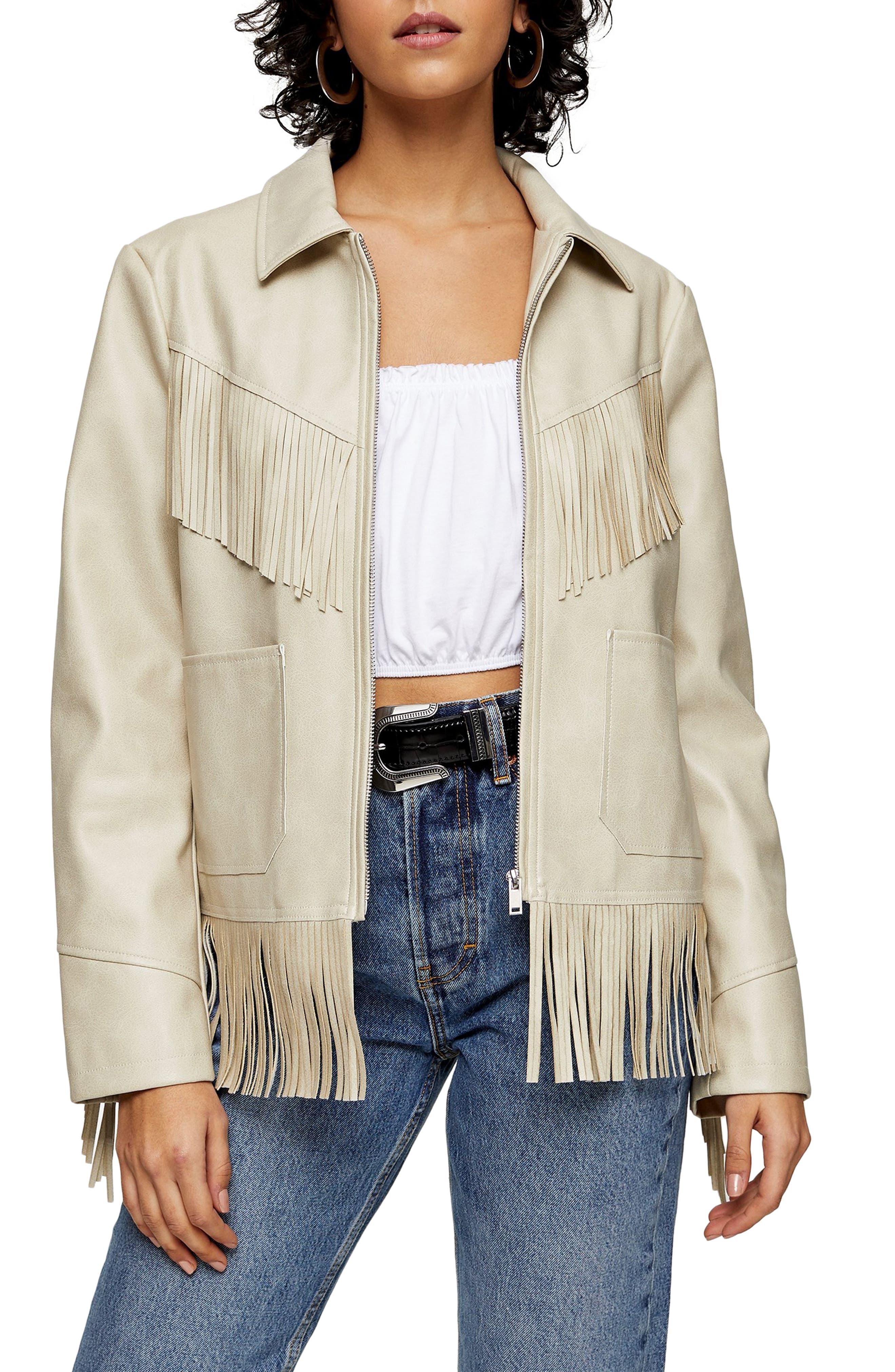 70s Jackets, Furs, Vests, Ponchos Womens Topshop Fringe Trim Faux Leather Jacket Size 8 US - Beige $110.00 AT vintagedancer.com
