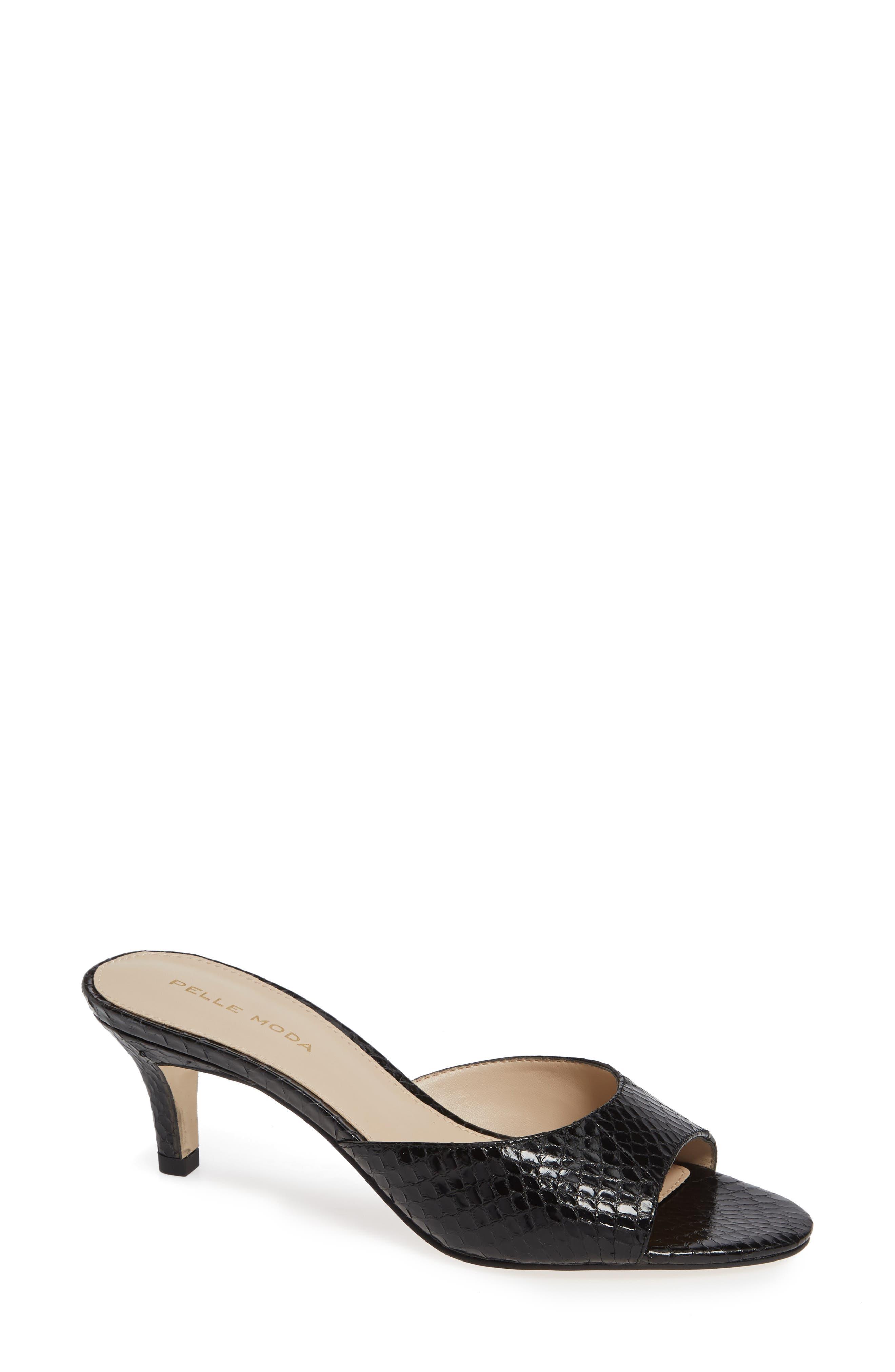 ,                             Bex Kitten Heel Slide Sandal,                             Main thumbnail 1, color,                             BLACK PRINT LEATHER