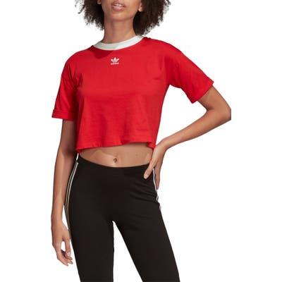 Adidas Originals Ringer Crop Top, Red