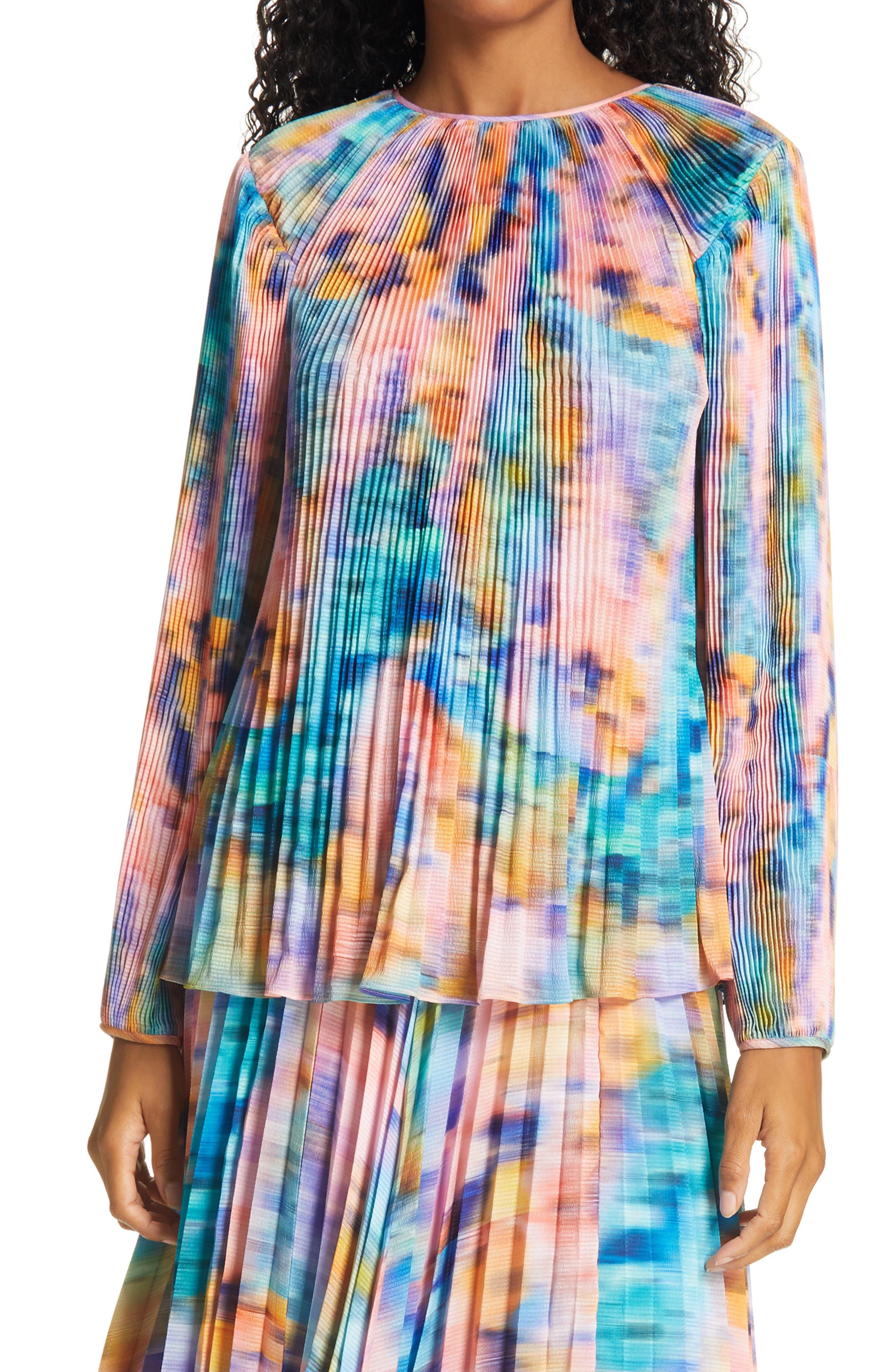 Tanya Taylor Shanalee Plissé Pleat Silk Top (Regular & Plus Size) | Nordstrom