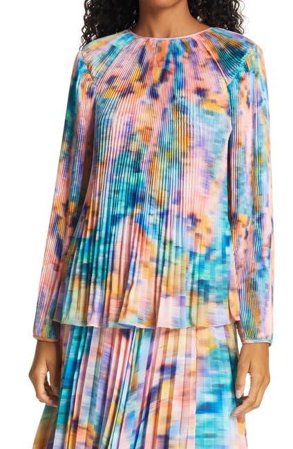 Image of Tanya Taylor Shanalee Plissé Pleat Silk Top