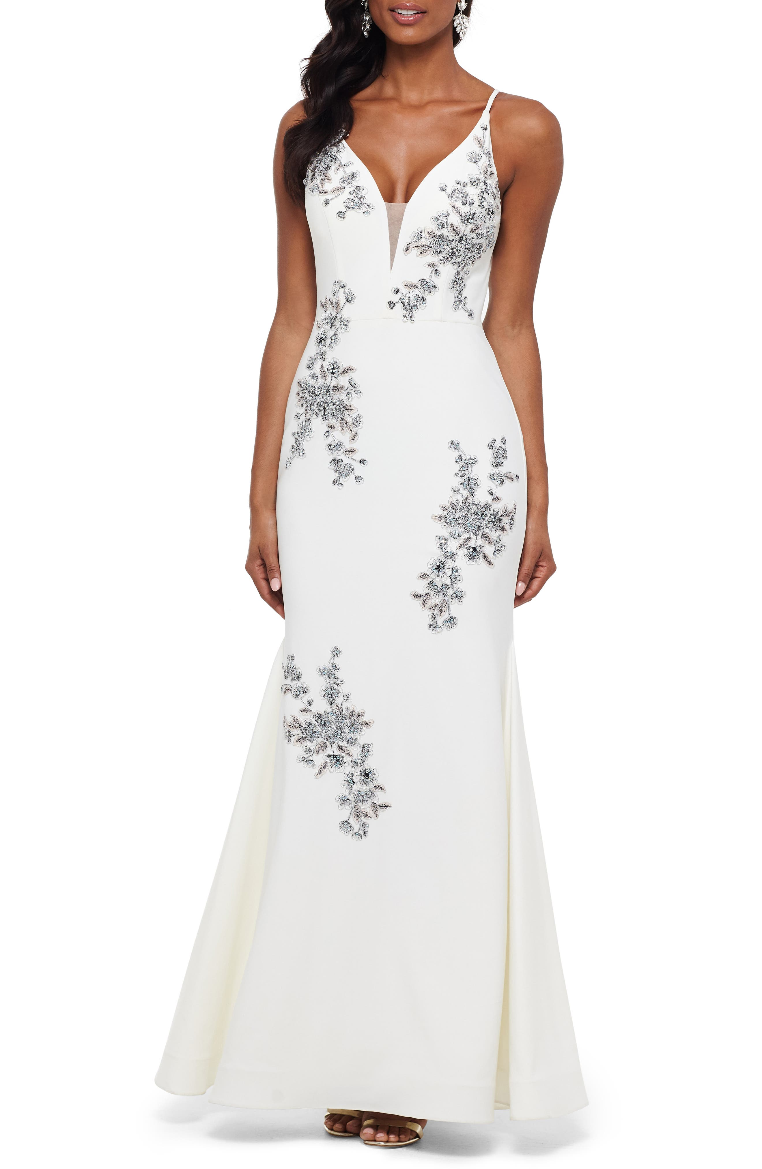 Xscape Beaded Embroidery Evening Dress, Ivory
