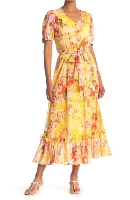 Image of Calvin Klein Floral Print Chiffon Button Front Midi Dress