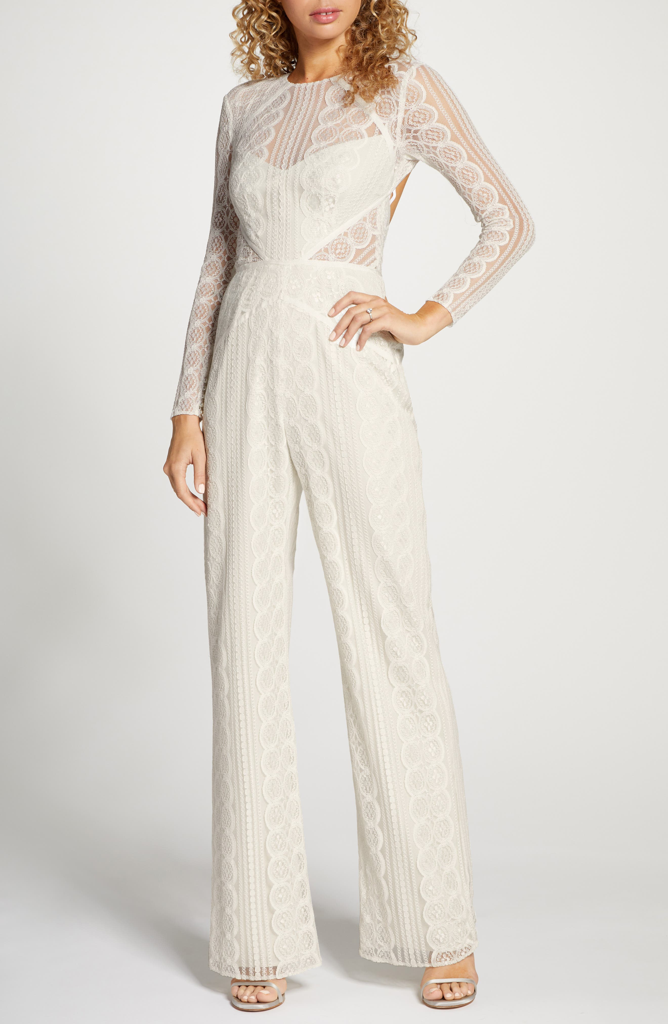 60s Wedding Dresses | 70s Wedding Dresses Womens By Watters Curtis Long Sleeve Lace Wedding Jumpsuit Size 15 - Ivory $510.00 AT vintagedancer.com