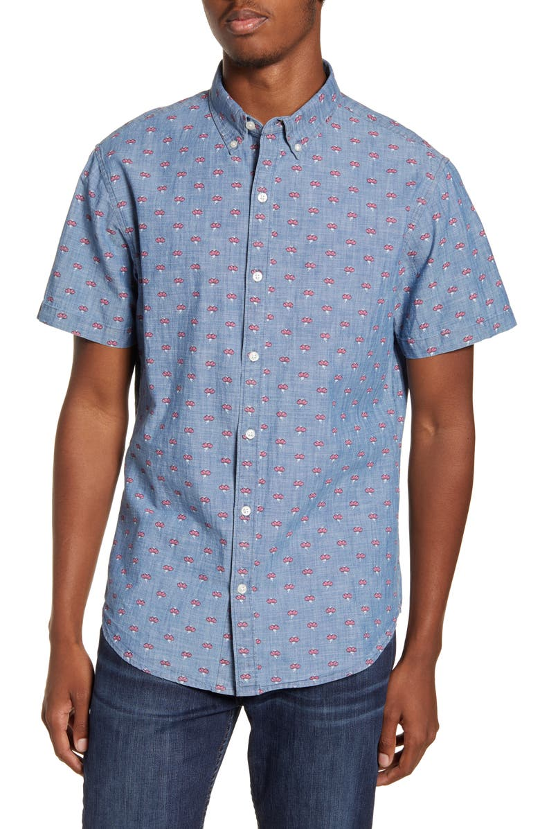 BONOBOS Riviera Slim Fit Short Sleeve Button-Down Sport Shirt, Main, color, FLOWER POP - AQUACULTURE