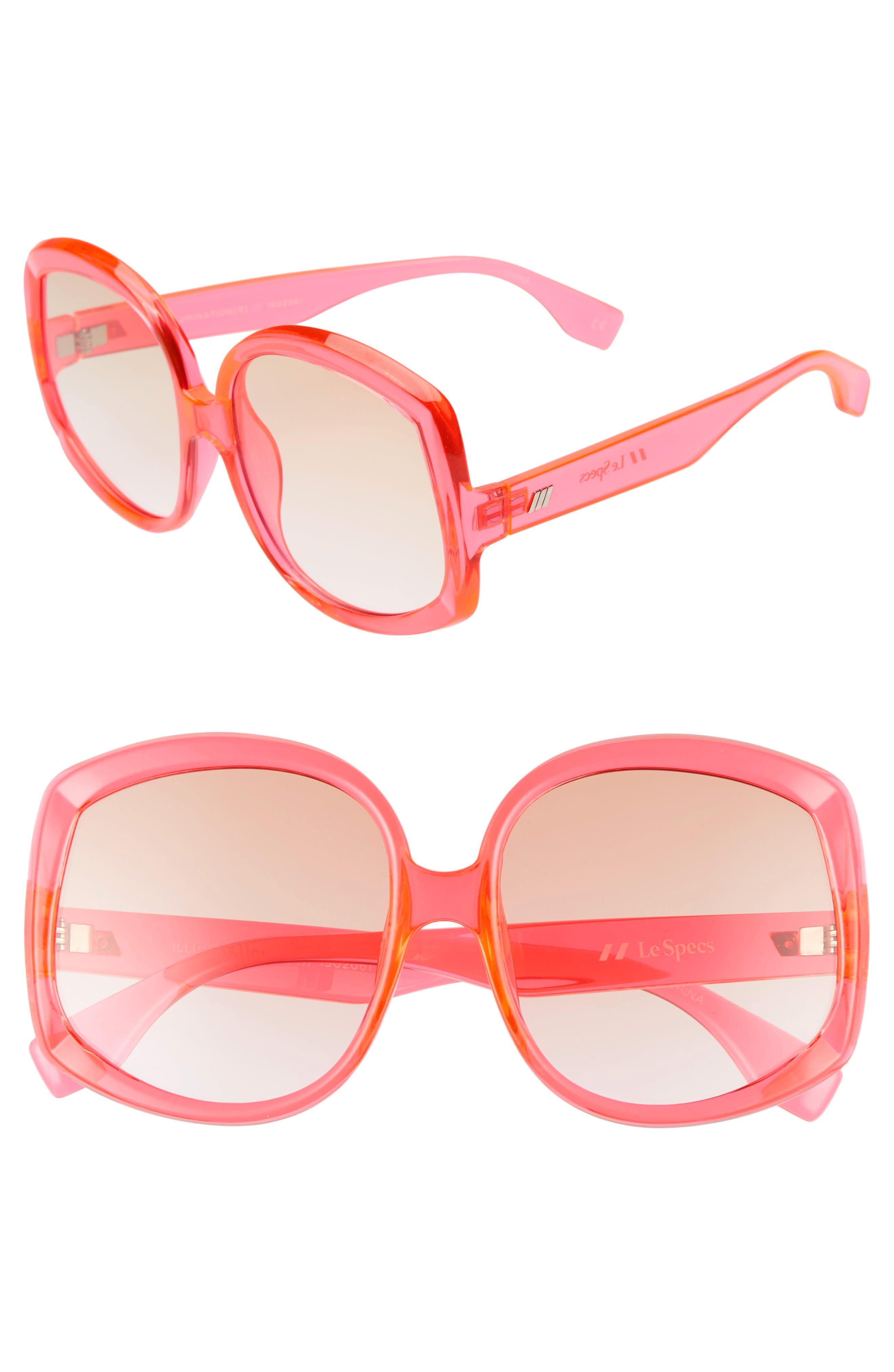Le Specs Illumination 5m Square Sunglasses - Hot Pink/ Tan Gradient