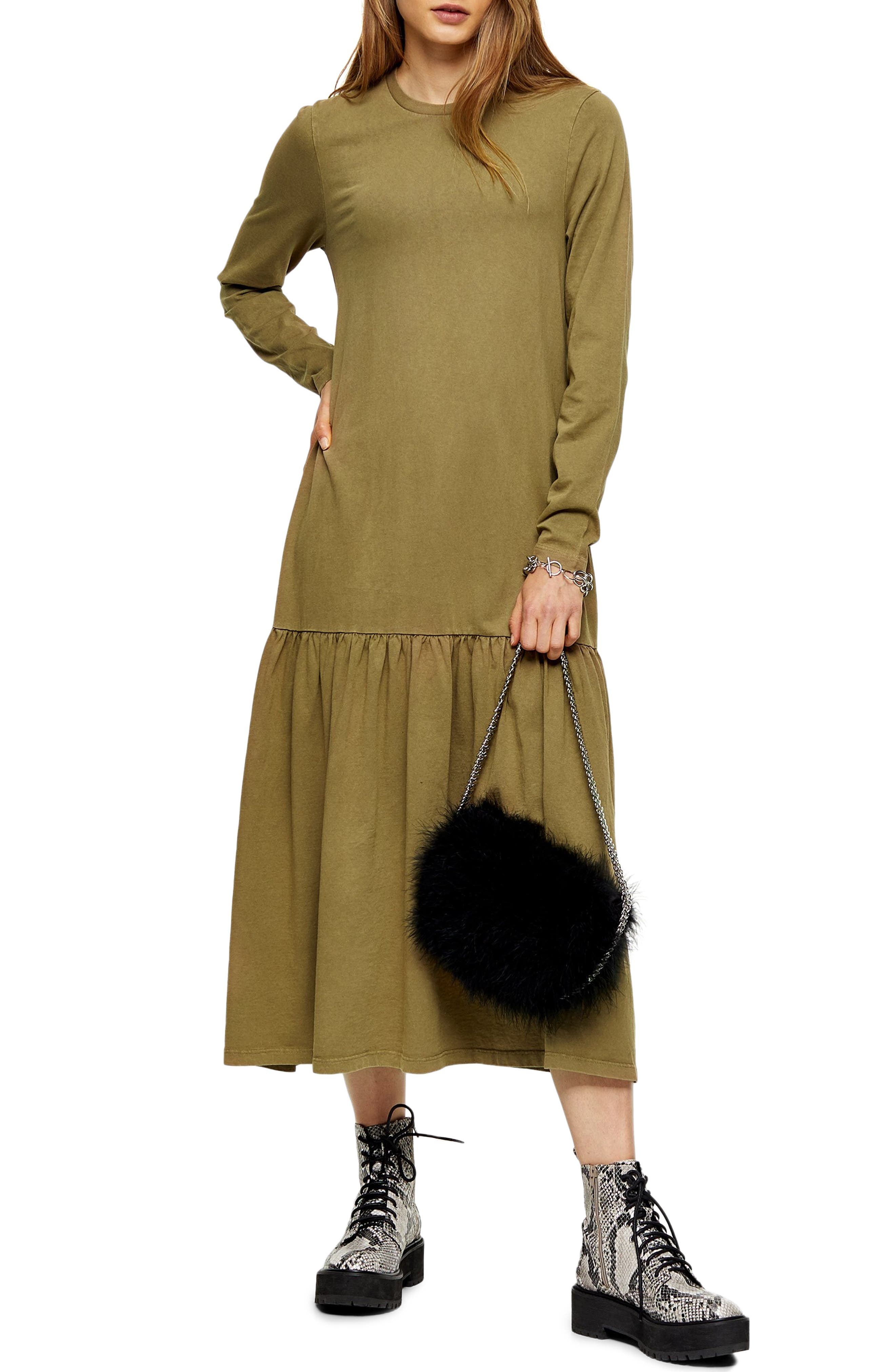 1920s Day Dresses, Tea Dresses, Mature Dresses with Sleeves Womens Topshop Long Sleeve Acid Wash Drop Waist Midi Dress Size 4 US fits like 0-2 - Green $55.00 AT vintagedancer.com