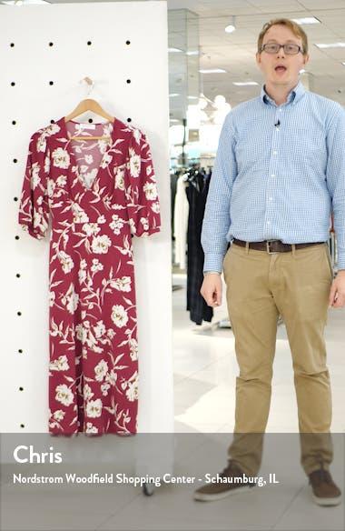 Print Blouson Sleeve Midi Dress, sales video thumbnail