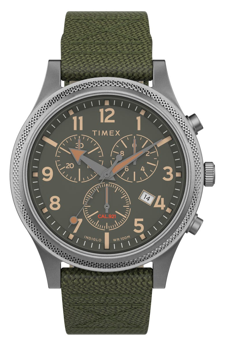 TIMEX<SUP>®</SUP> Allied LT Chronograph Nylon Strap Watch, 42mm, Main, color, GREEN/ SILVER