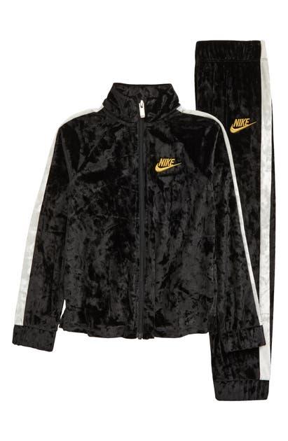 Nike KIDS' CRUSHED STRETCH VELVET TRACK JACKET & PANTS SET