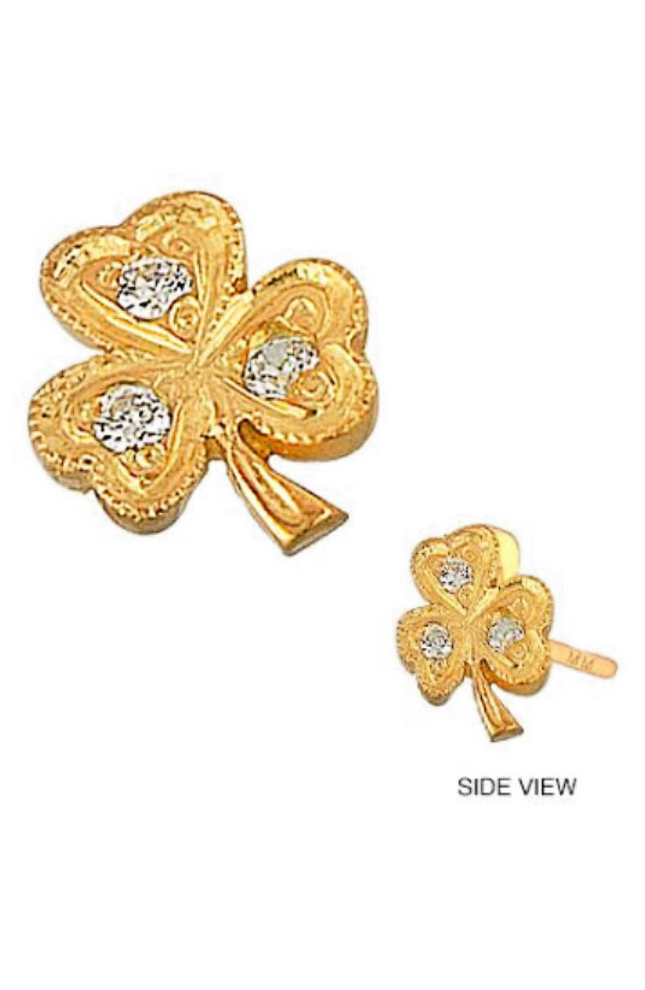 A clover-shaped earring in 14-karat gold is alight with sparkling diamonds. Style Name: Mini Mini Jewels Diamond Icon Clover Earring. Style Number: 5770488. Available in stores.
