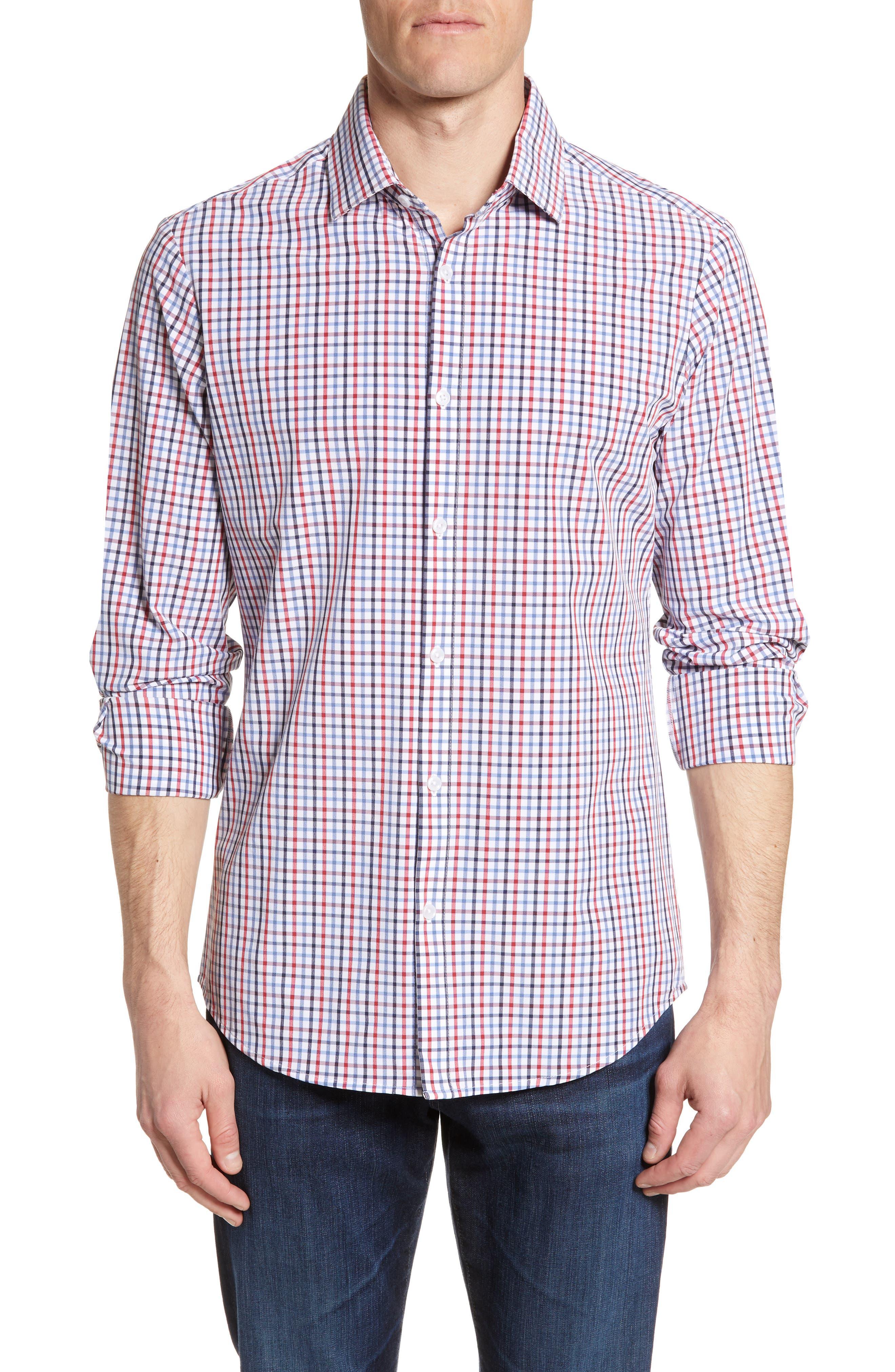 Mizzen+Main Price Regular Fit Check Performance Sport Shirt, Blue