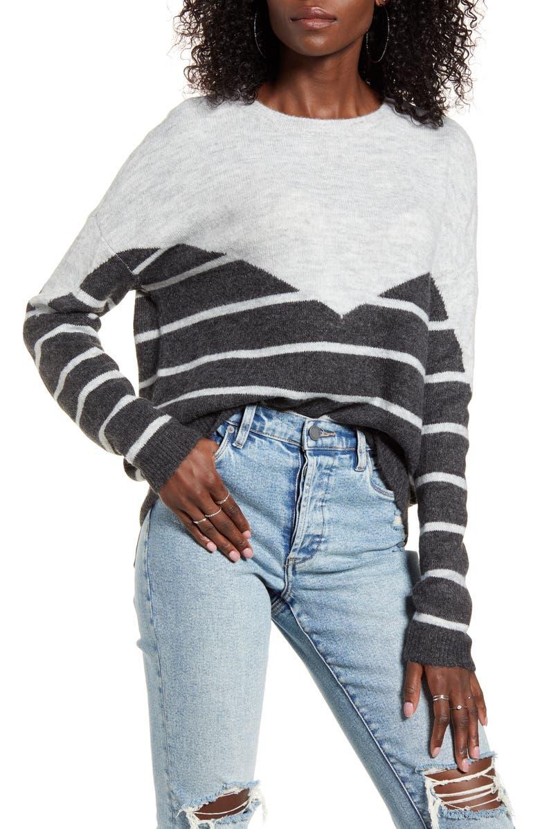VERO MODA Colorblock Stripe Sweater, Main, color, LIGHT GREY/ DARK GREY MELANGE