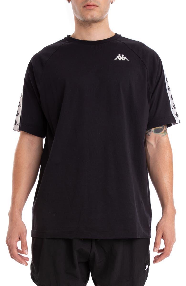 KAPPA 222 Banda Coen T-Shirt, Main, color, BLACK/ GREY SILVER/ WHITE