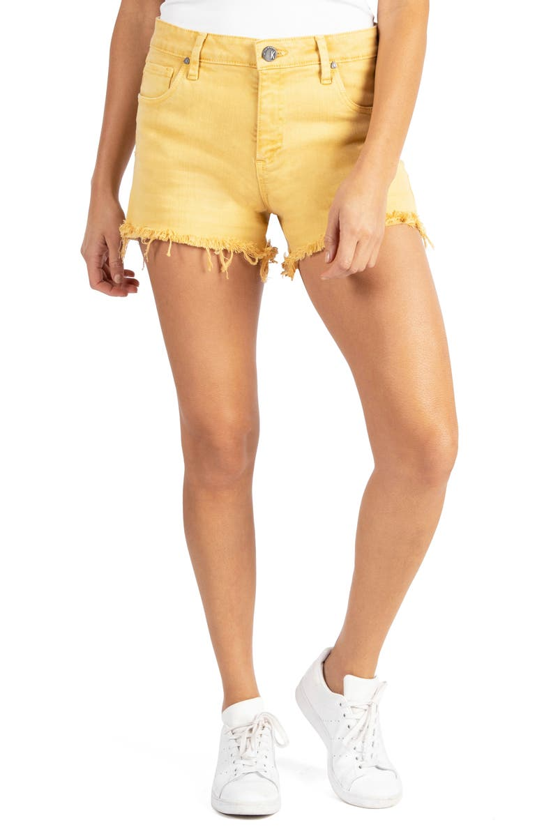 KUT FROM THE KLOTH Jane High Waist Fray Hem Cutoff Denim Shorts, Main, color, GOLDEN