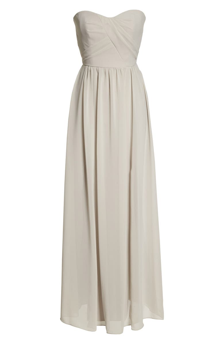 SOCIAL BRIDESMAIDS Strapless Georgette A-Line Gown, Main, color, OYSTER