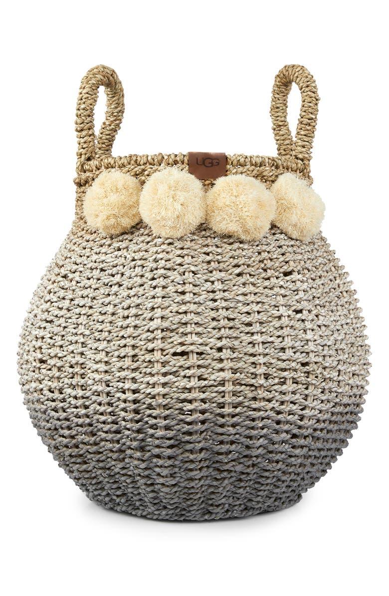 UGG<SUP>®</SUP> Camila Pompom Straw Basket, Main, color, 020