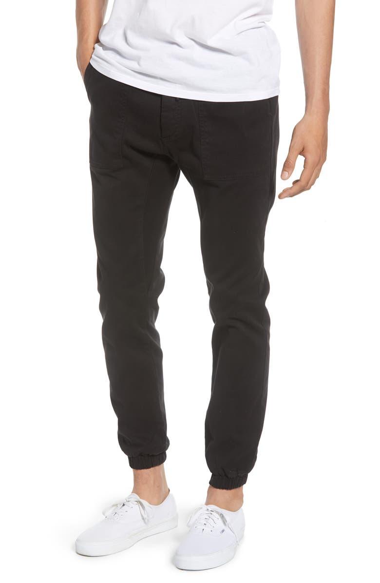 TOPMAN Skinny Fit Woven Jogger Pants, Main, color, 001