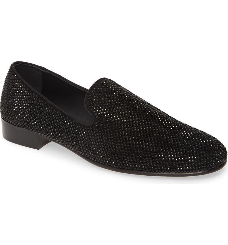 GIUSEPPE ZANOTTI Glitter Loafer, Main, color, NERO