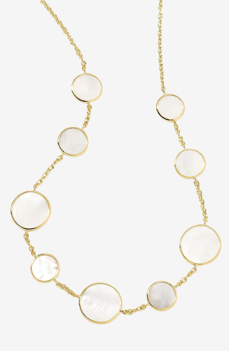 IPPOLITA 'Rock Candy' Circle Station 18k Gold Necklace, Main, color, YELLOW GOLD/ MOTHER OF PEARL