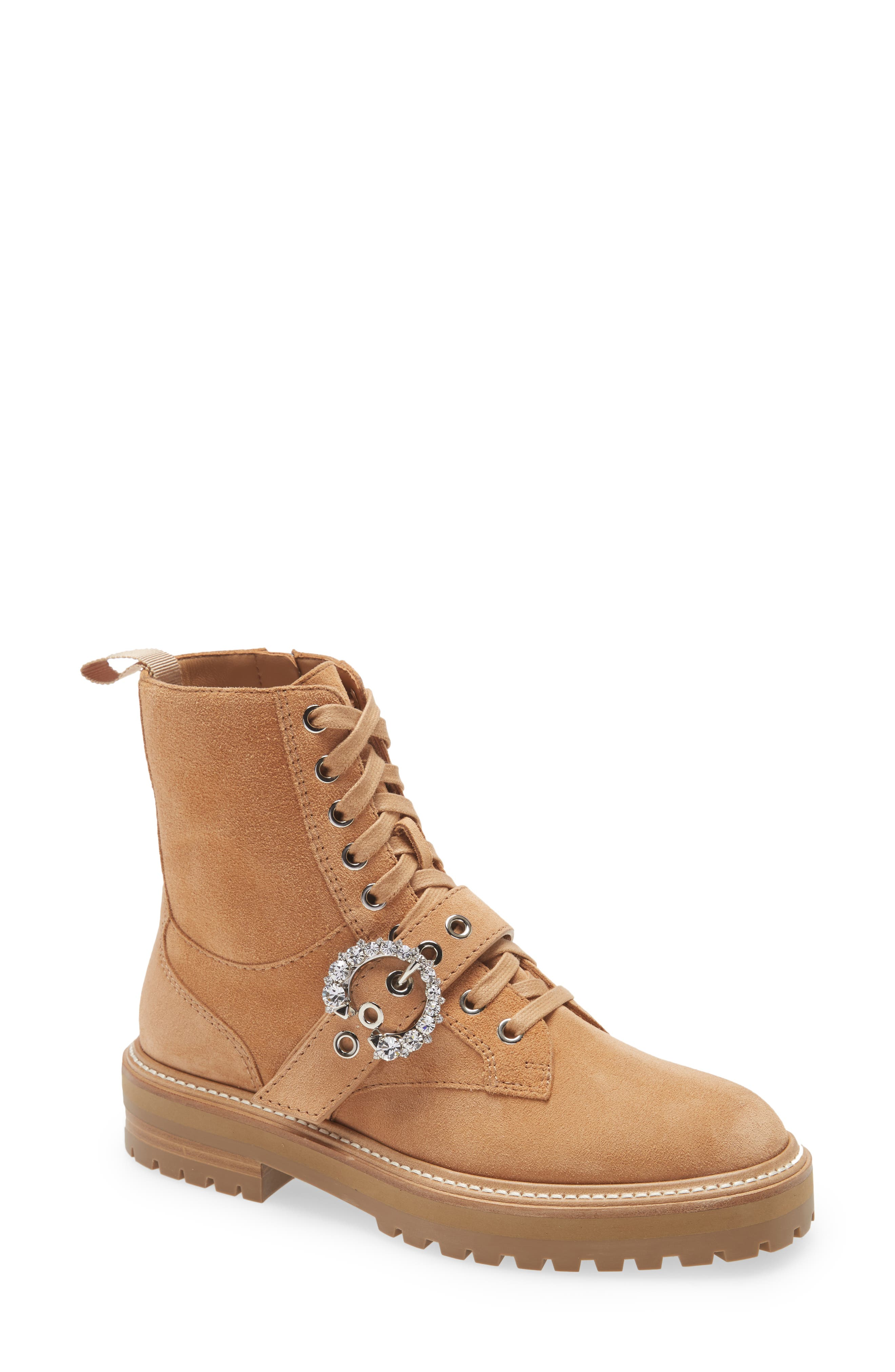 Women's Jimmy Choo Cora Crystal Buckle Combat Boot